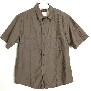 Tasso Elba Brown Button Down Short Shirt XL